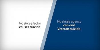 Blue and white graphic - Text reads: No single factor causes suicide. No single agency can end Veteran suicide.