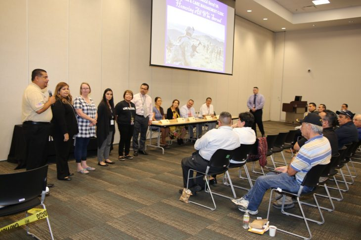Members of the RGV Community Veterans Engagement Board (CVEB) introduce themselves during Operation Reveille, which took place at the South Texas College (STC) Pecan Campus in McAllen, Texas, on November 8, 2018. More than 50 people attended the free informational event coordinated and hosted by the RGV (CVEB) and the STC Student Veterans Association.(VA photo by Luis H. Loza Gutierrez)