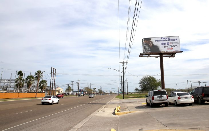 Earlier this month the outreach efforts for raising awareness about suicide prevention literally reached new heights in a big way across many locations, thanks to VCB's partnership with TriWest Healthcare Alliance who helped sponsor the display of four billboards bearing the Veterans Crisis Line number and logo along busy roadways in and around the cities of Brownsville, Harlingen, McAllen and Corpus Christi, Texas.The 10 by 22-foot billboard shown on the right is located along East Harrison Avenue in Harlingen, Texas. (U.S. Department of Veterans Affairs photo by Luis H. Loza Gutierrez)