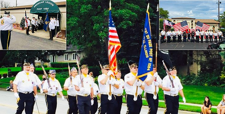 Picture showing American Legion Post 1084 members in various locations.
