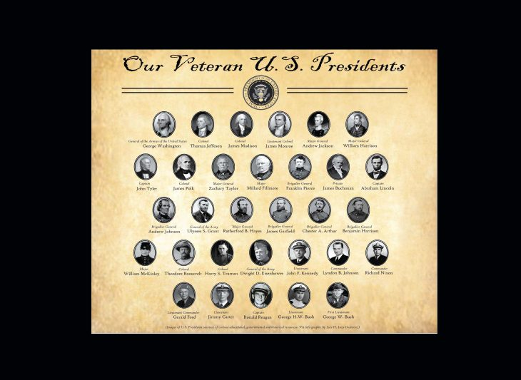 Diagram of Veteran U.S. Presidents with highest obtained rank, starting from the first to most recent president to have served. Thirty-one of the 45 U.S. presidents have served in the U.S. armed forces. (Presidential images courtesy of various educational, governmental and historical public sources. VA info graphic by Luis H. Loza Gutierrez)