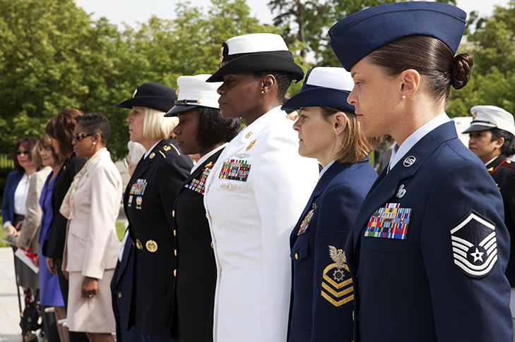 Photo of women Service members in uniform standing in formation.