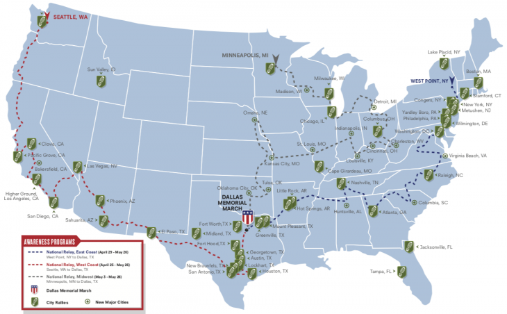 A map of the Carry the Load 2019 route
