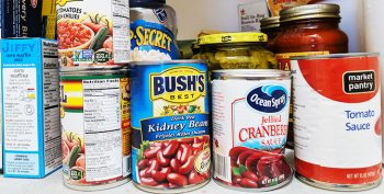 Picture of a pantry with multiple canned foods.