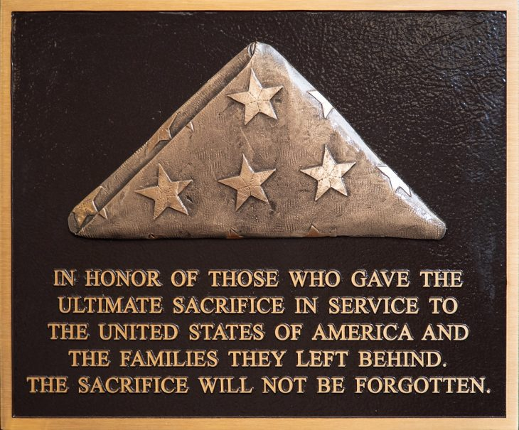 """""""Tribute to The Fallen and Their Families"""" plaque that will be dedicated at each National Cemetery."""