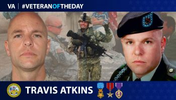 Veteran of the Day graphic for Army Veteran Travis Atkins.