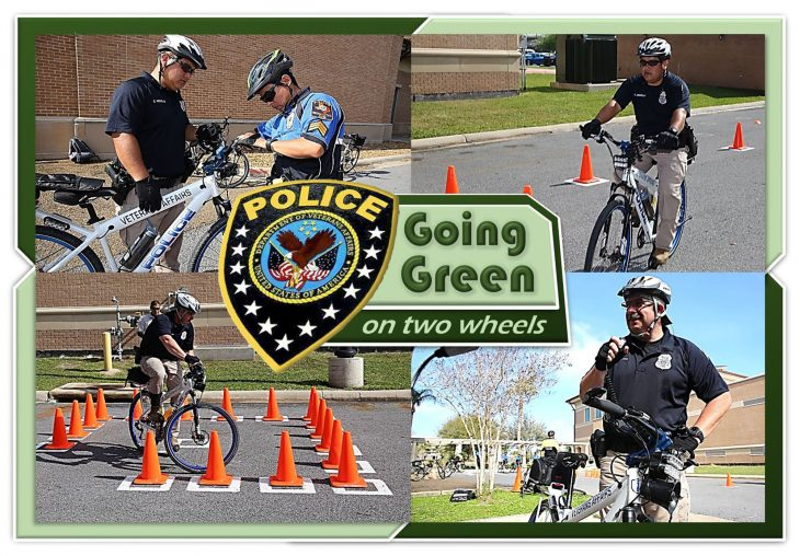 Police officers at VA Texas Valley Coastal Bend Health Care System (VCB) are helping the environment by going green on two wheels with the addition of bicycle patrols. (VA photo illustration by Luis H. Loza Gutierrez)
