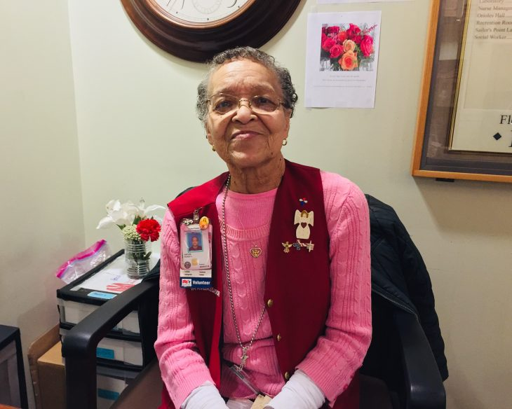 Peggy Gayles greets those who enter the Baltimore VA. she recently earned the President's Call to Service Award for 4,000 hours of voluntary service to VA.