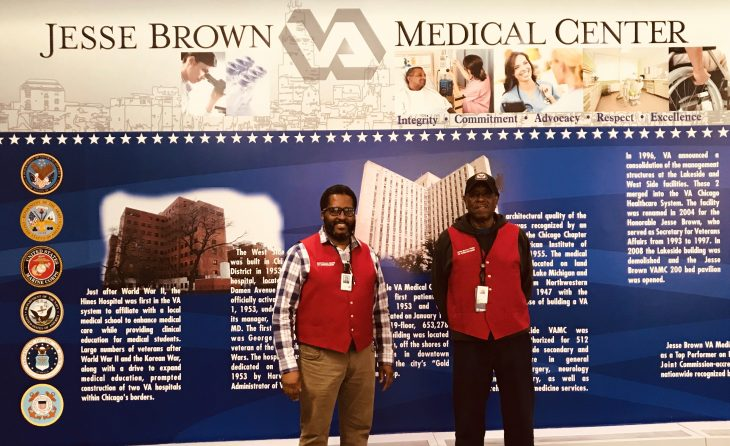 Edward is a Navy Veteran who loves being around people and helping them, Herman is an Army Vet and likes being a Red Coat because it gives him a sense of service. Both donate their time to the Jesse Brown VA in Chicago.