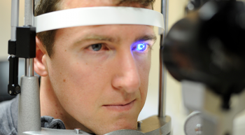 A man being tested for glaucoma