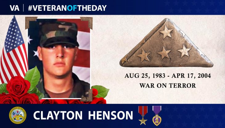 Veteran of Day graphic for Clayton Henson