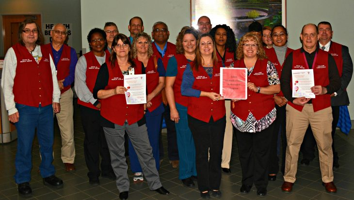 The Salem, Virginia VA Red Coat Ambassador team rotates employees and volunteers to greet and assist Veterans and visitors when they enter VA sites of care. customer service