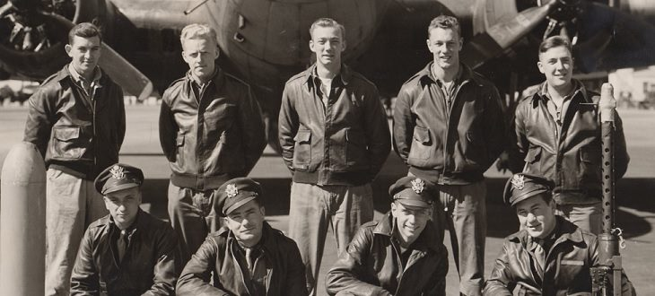 Photograph of an aircrew with Edward Armm, Edward Koster, John Clark, and Arthur Kaule. All died on June 21, 1944.