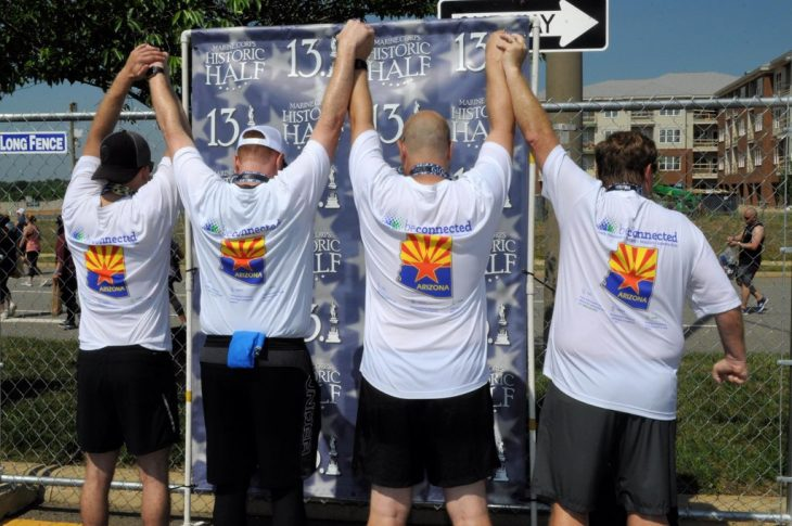 Christopher Olson, Veteran and Veterans Experience Office employee, Sergeant C. Boen Olson, USMC Peter Reich, son and step son to 3 Veterans and Logan Gregory, Military Parent all ran together as the Be Connected team for the Marine Corps Historic Half Marathon in May.