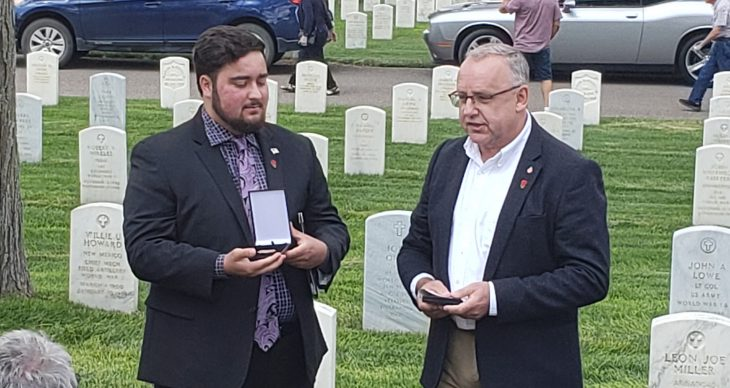 A fallen WWII soldier's nephew receiving his dog tags at Santa Fe National Cemetery.