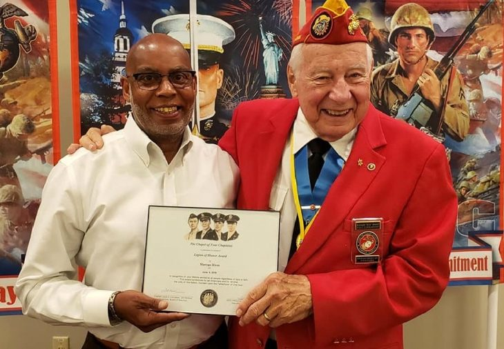 Marcus Hives receives the Chapel of the Four Chaplains Legion of Honor Award.
