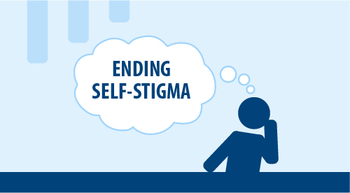 """Thought bubble graphic reading """"Ending Self-Stigma"""""""