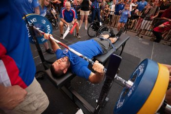 Marine Veteran Tim Conner competed in power lifting during the 39th Annual National Veterans Wheelchair Games in Louisville, Kentucky, earning gold.