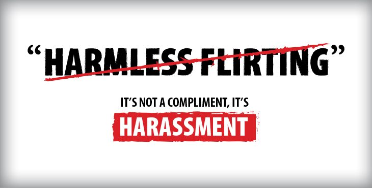 End Sexual Harassment: Harmless flirting poster.