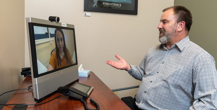 VA telemental health professionals treat Veterans via secure computer connections.