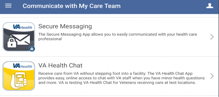 VA Launchpad arranges all of VA's apps into five categories for Veterans: health management, health care team communication, vital health information sharing, mental health improvement, and quality of life improvement.
