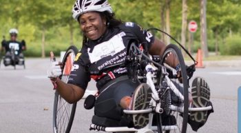 Candice Caesar participates in her favorite National Veterans Wheelchair Games event—the 10K—using a hand-cycle.