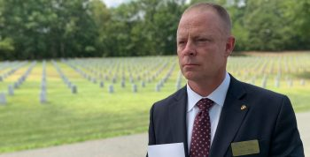 Marine Corps Veteran and Purple Heart recipient Damion Jacobs assists Veteran families at Quantico National Cemetery as a program support assistant.