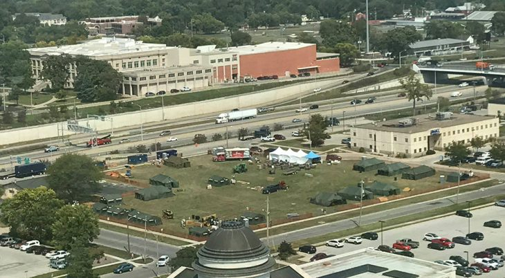 Aerial view of full city block with Stand Down tents serving homeless Veterans and others