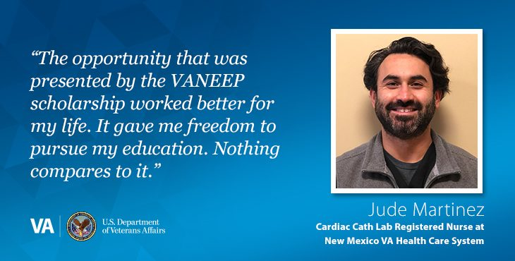 The opportunity that was presented by the VA National Education for Employees Program scholarship helped Jude Martinez realize his dream of becoming a registered nurse at VA.