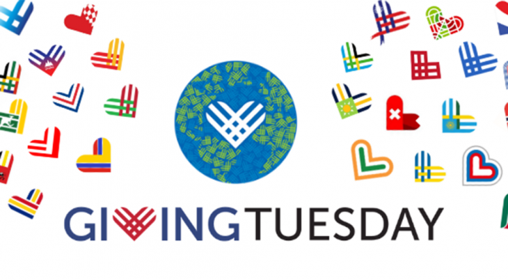 A GivingTuesday logo with many small flags in the shape of hearts