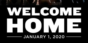 "IMAGE: Image file r on a black back ground.eads ""welcome home"""