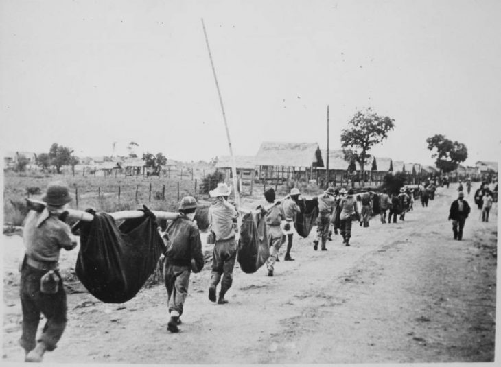 Photo of prisoners on the Bataan Death March, which began on April 9, 1945.