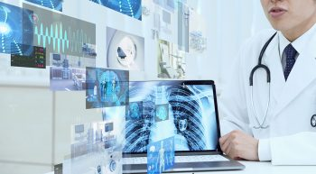 Graphic image of doctor with various computer screens