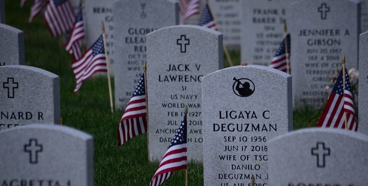 A close-in view of headstones from Quantico National Cemetery, Triangle, VA