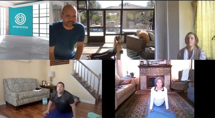 Composite photo of online yoga session
