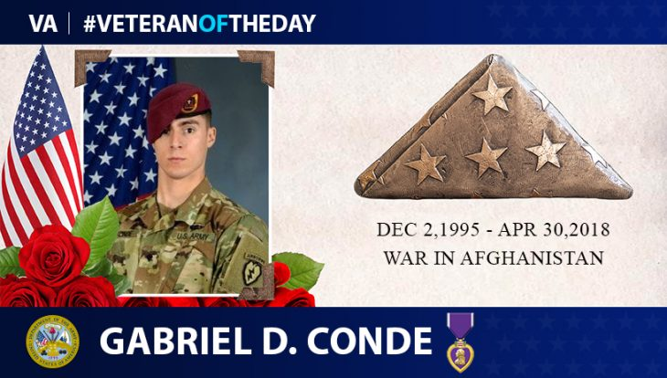 Army Veteran Gabriel D. Conde is today's Veteran of the Day.