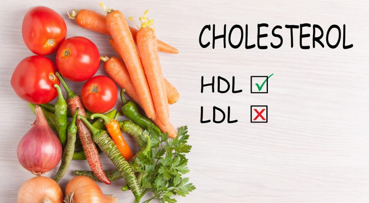 Good HDL and bad LDL cholesterol text and group vegetables. Diet, healthy lifestyle concept.