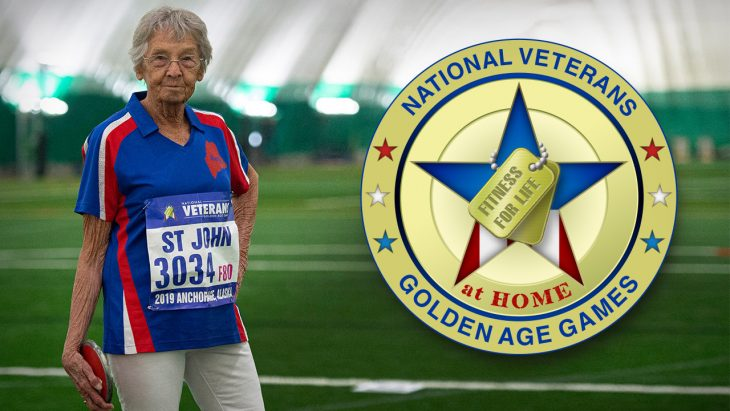 veteran with discus and gold coin logo