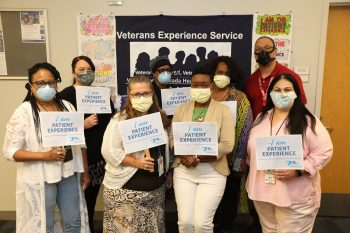 group of masked VA staff