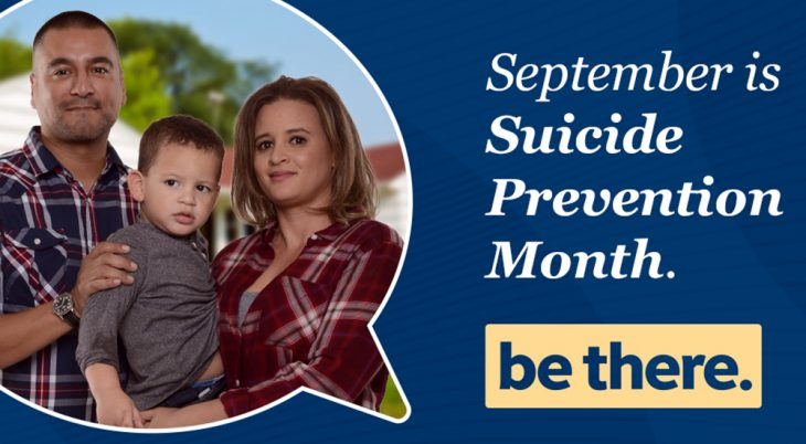Man, woman and child in Suicide Prevention poster