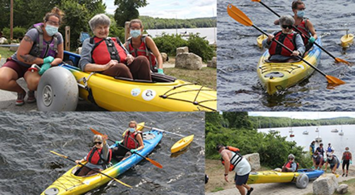 Photo collage of people kayaking