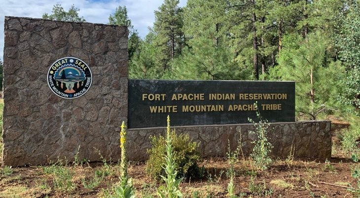 Sign at entrance to Indian reservation