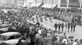 Photo of parade in military parade in 1945