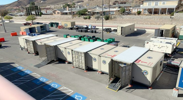 Multiple container units in staging area