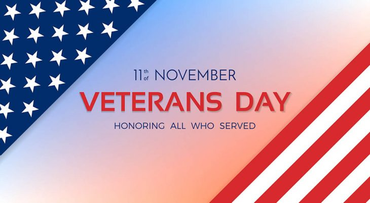 Veterans Day. 11th of November. Honoring all who served. Usa flag on background. Vector illustration.