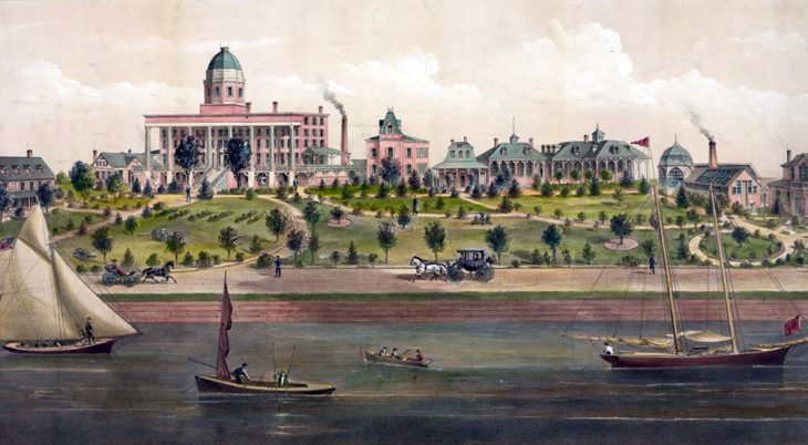 Historic painting of soldiers' home on a river