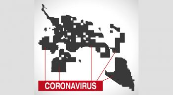 Tucson Arizona city map with Coronavirus warning