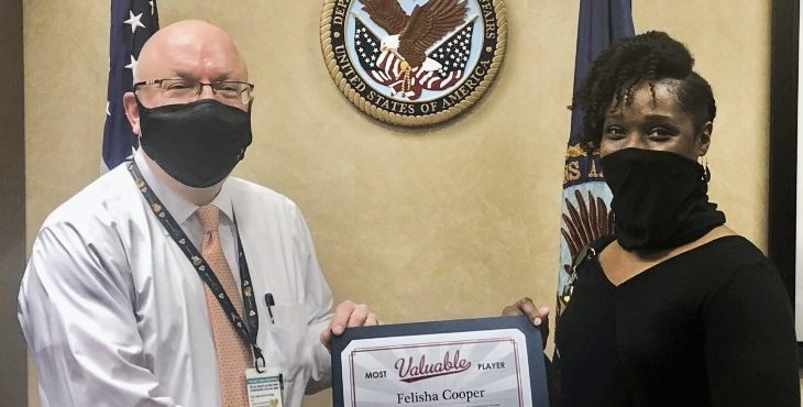 VA medical support assistant Felisha Cooper saved a Veteran's life in the parking lot of the medical center where she works.