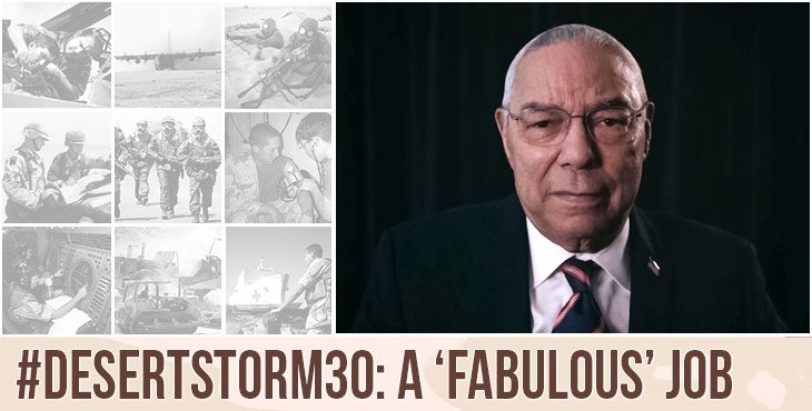 """Army Veteran Colin Powell said U.S. troops did a """"fabulous"""" job during Operation Desert Storm."""