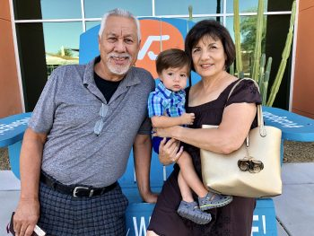 John Gutierrez (left) with his wife, Rosalinda Gutierrez, and their grandson, Quentin Gutierrez, in Phoenix in 2018.